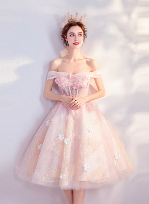 Pink lace short prom dress pink homecoming dress