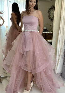 Pink tulle long prom dress two pieces evening dress