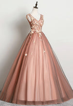 A line v neck tulle lace prom dress formal dress