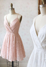 Cute v neck lace short prom dress cocktail dress