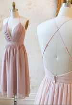Cute v neck chiffon short prom dress hoco dress
