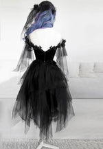 Black tulle lace short prom dress homecoming dress