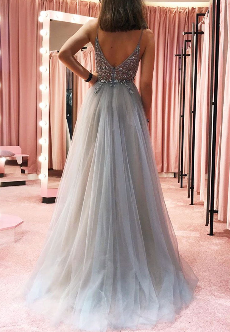 Gray tulle beads long prom dress party dress