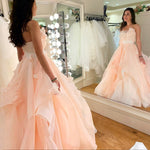 Unique pink tulle long prom dress sweet 16 dress