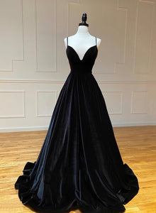 Black velvet prom dress simple evening dress