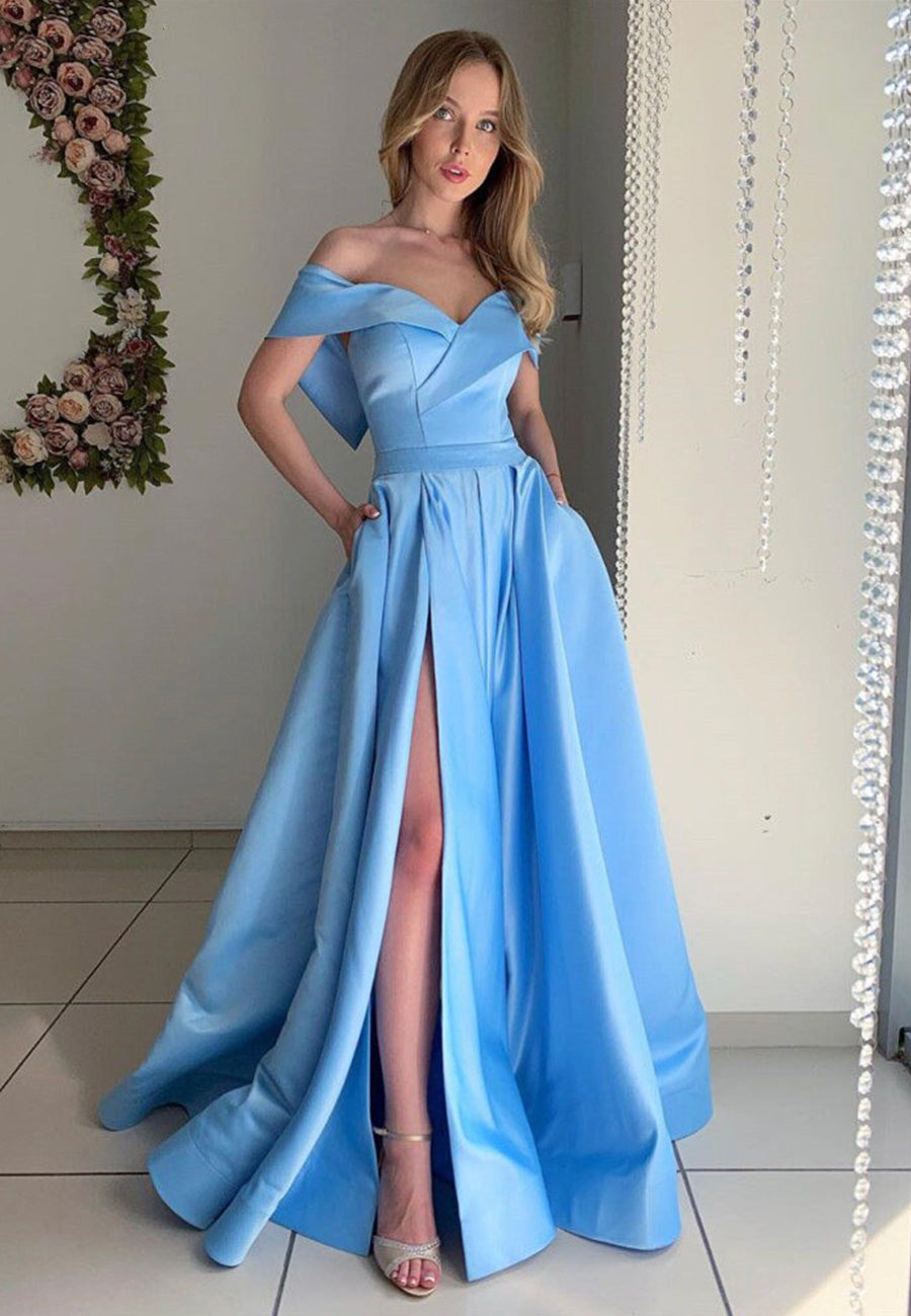 Blue satin long prom dress off shoulder evening dress