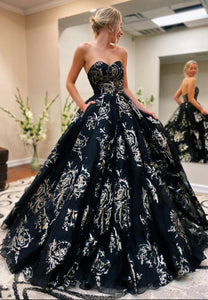 Stylish black long prom gown black evening dress