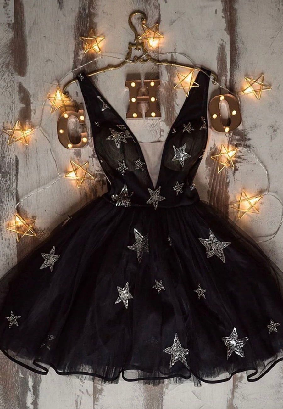 Black sequins short prom dress homecoming dress