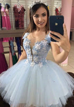 Blue v neck lace short prom dress homecoming dress