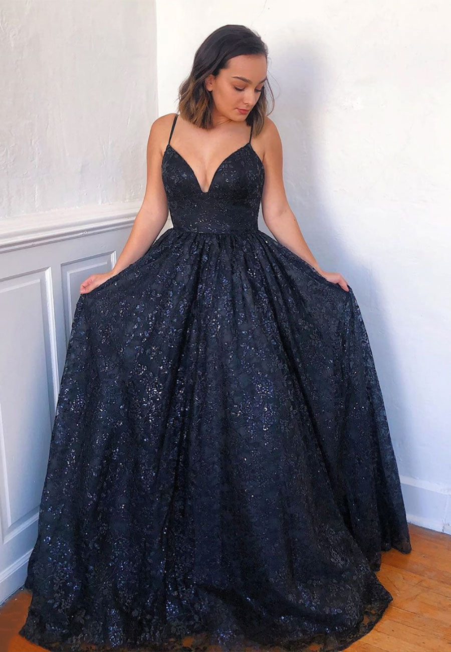 Dark blue lace sequins prom dress evening dress