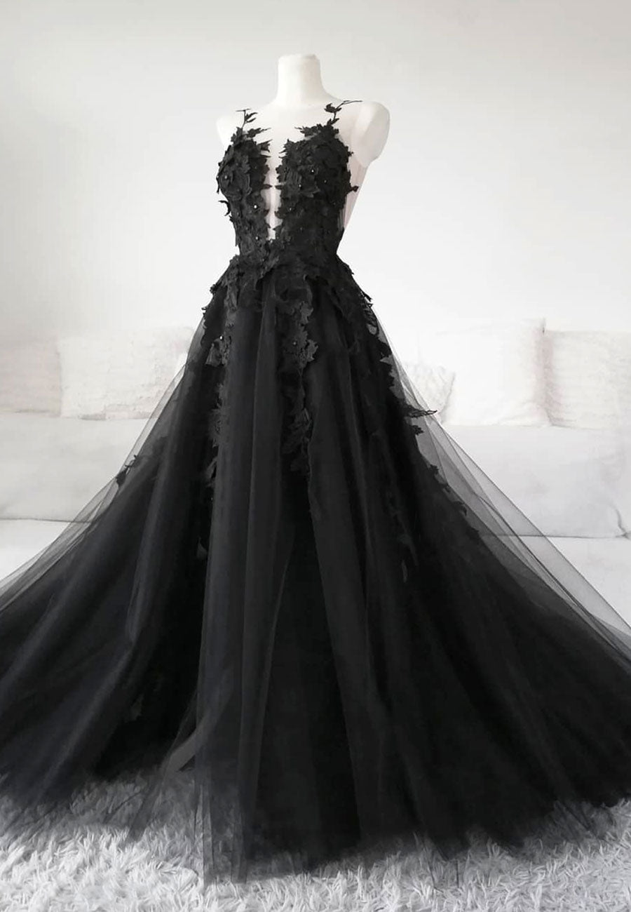 Black lace tulle long prom gown black evening dress