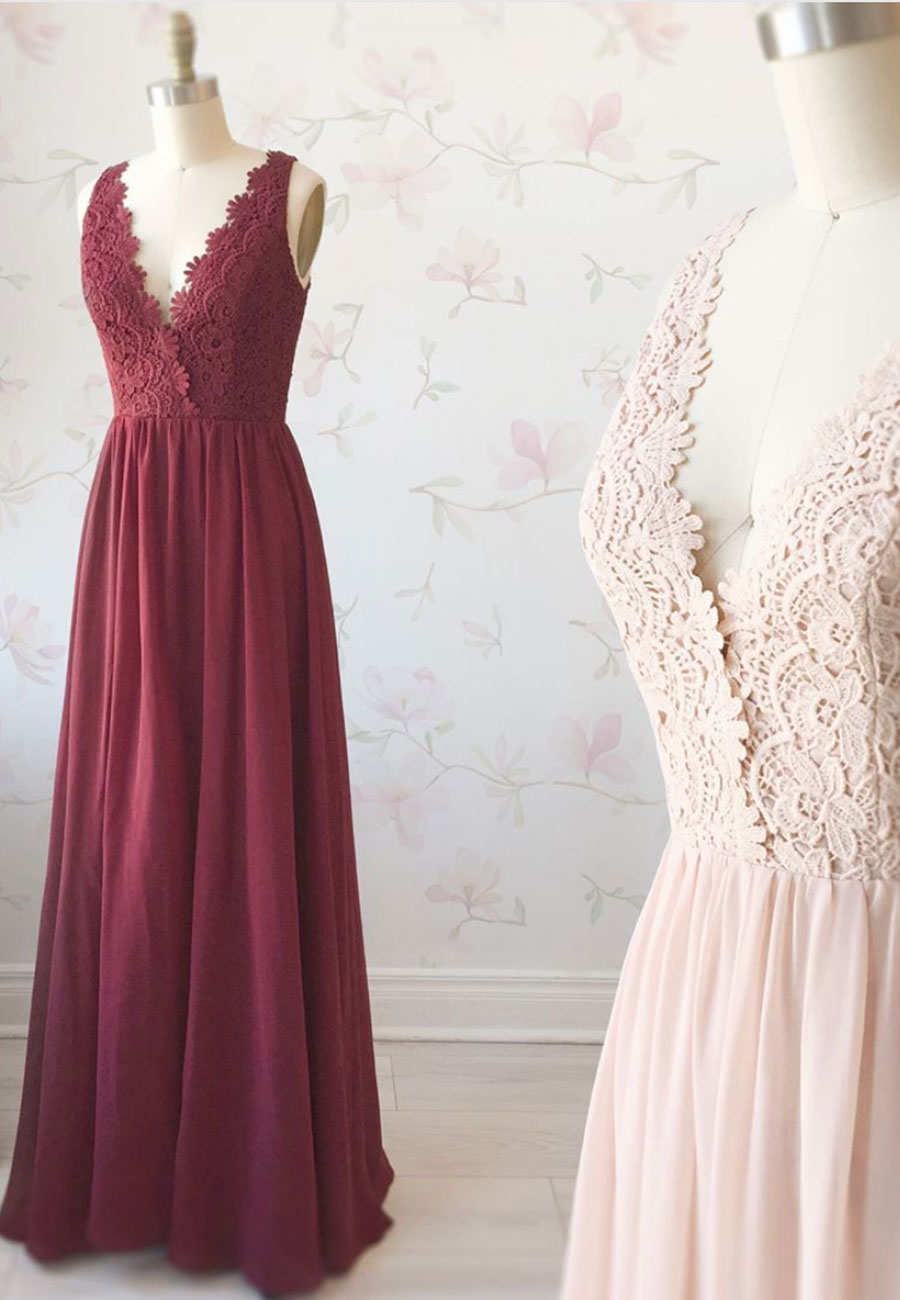 Simple v neck tulle lace long a line prom dress
