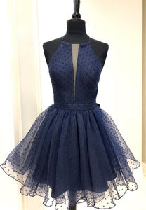 Blue tulle short prom dress homecoming dress