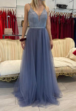 A line v neck tulle long prom dress evening dress