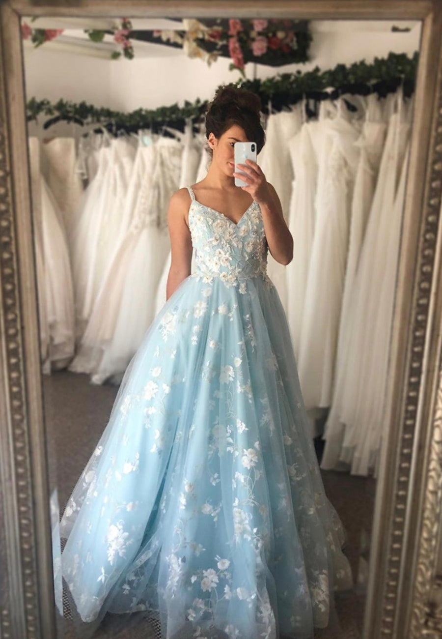 Blue tulle lace long ball gown dress evening dress