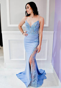 Unique blue lace long prom dress evening dress
