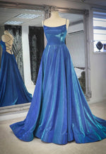 Simple blue long A line prom dress evening dress
