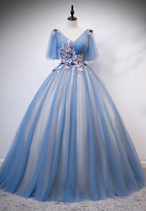 Blue lace long ball gown dress formal dress