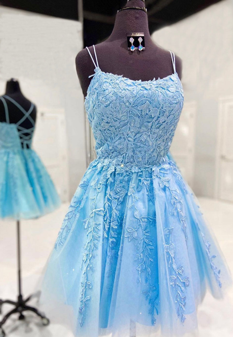 Blue lace tulle short prom dress homecoming dress