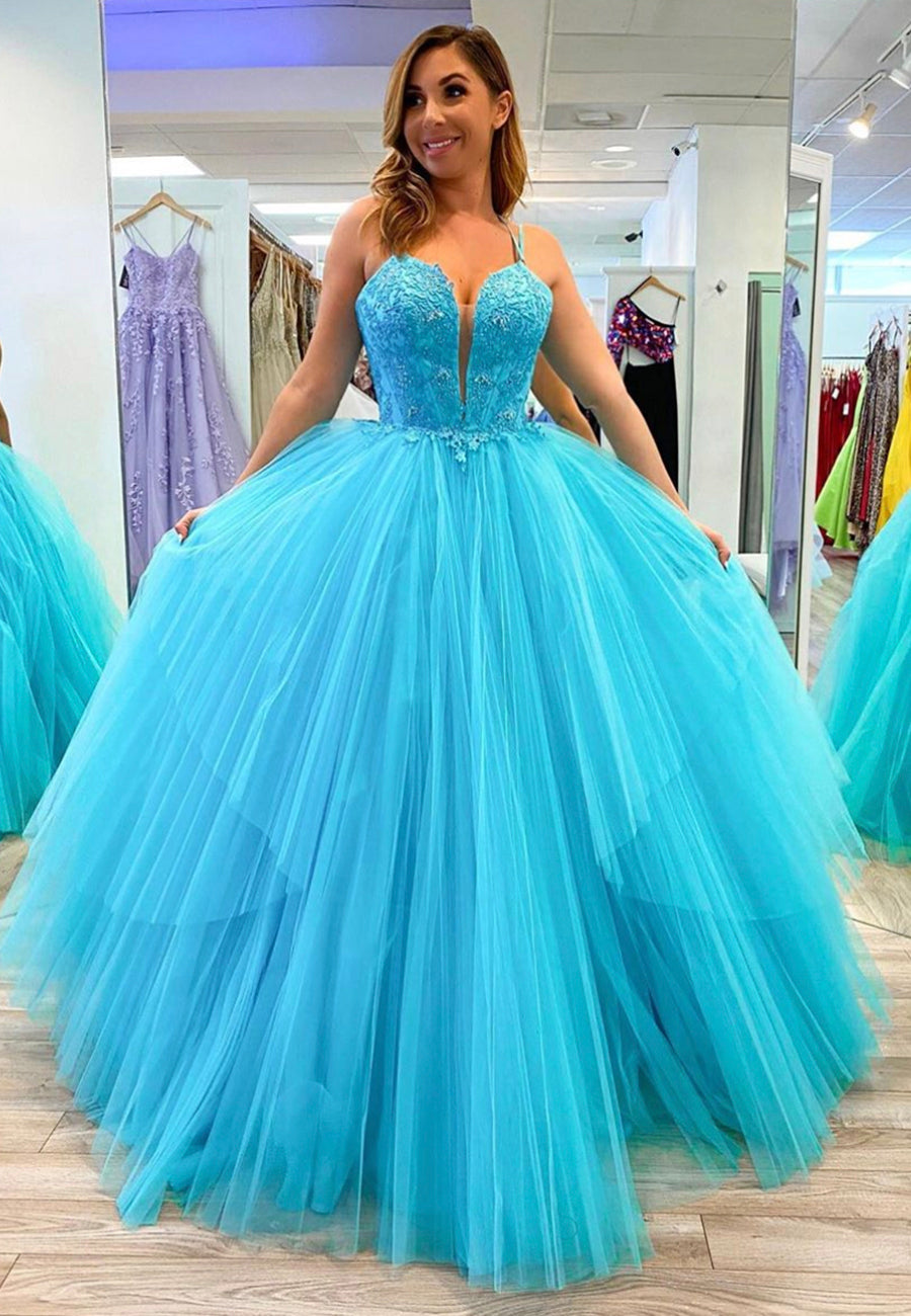 Stylish tulle lace long prom gown evening dress