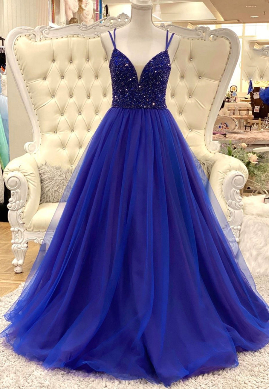 Blue tulle beads long prom dress blue evening dress