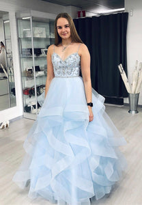 Blue tulle beads long A line prom gown formal dress