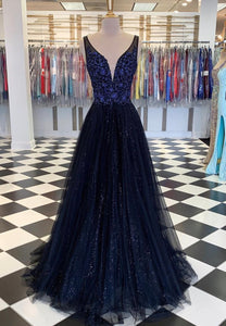 Dark blue tulle beads long prom dress evening dress