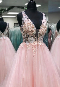 Pink v neck lace long prom gown formal dress