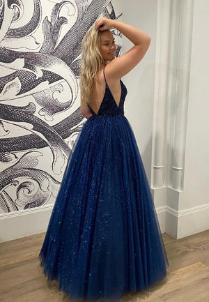 Blue v neck tulle sequins long ball gown dress