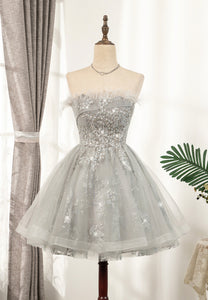 Cute tulle sequins short prom dress coco dress