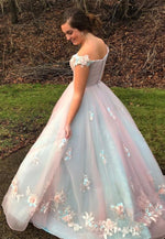 Stylish v neck tulle lace long ball gown dress