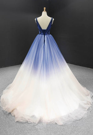 Amazing blue tulle prom gown blue formal dress