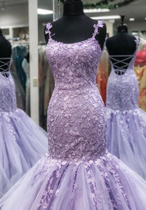 Purple lace prom dress mermaid evening dress