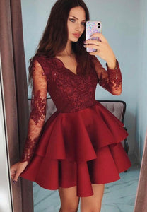 Burgundy long sleeve prom dress party dress