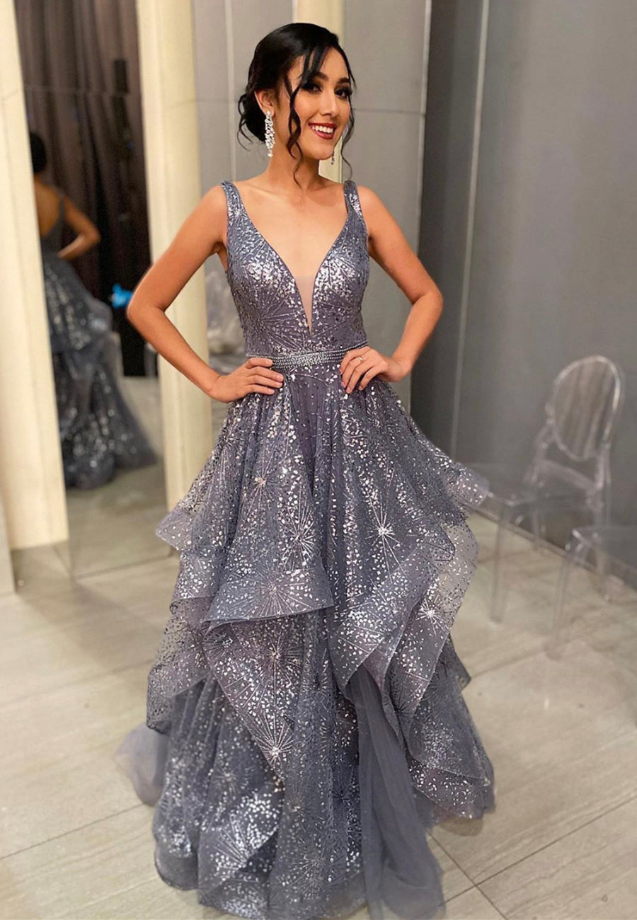 Gray v neck sequins long prom dress formal dress