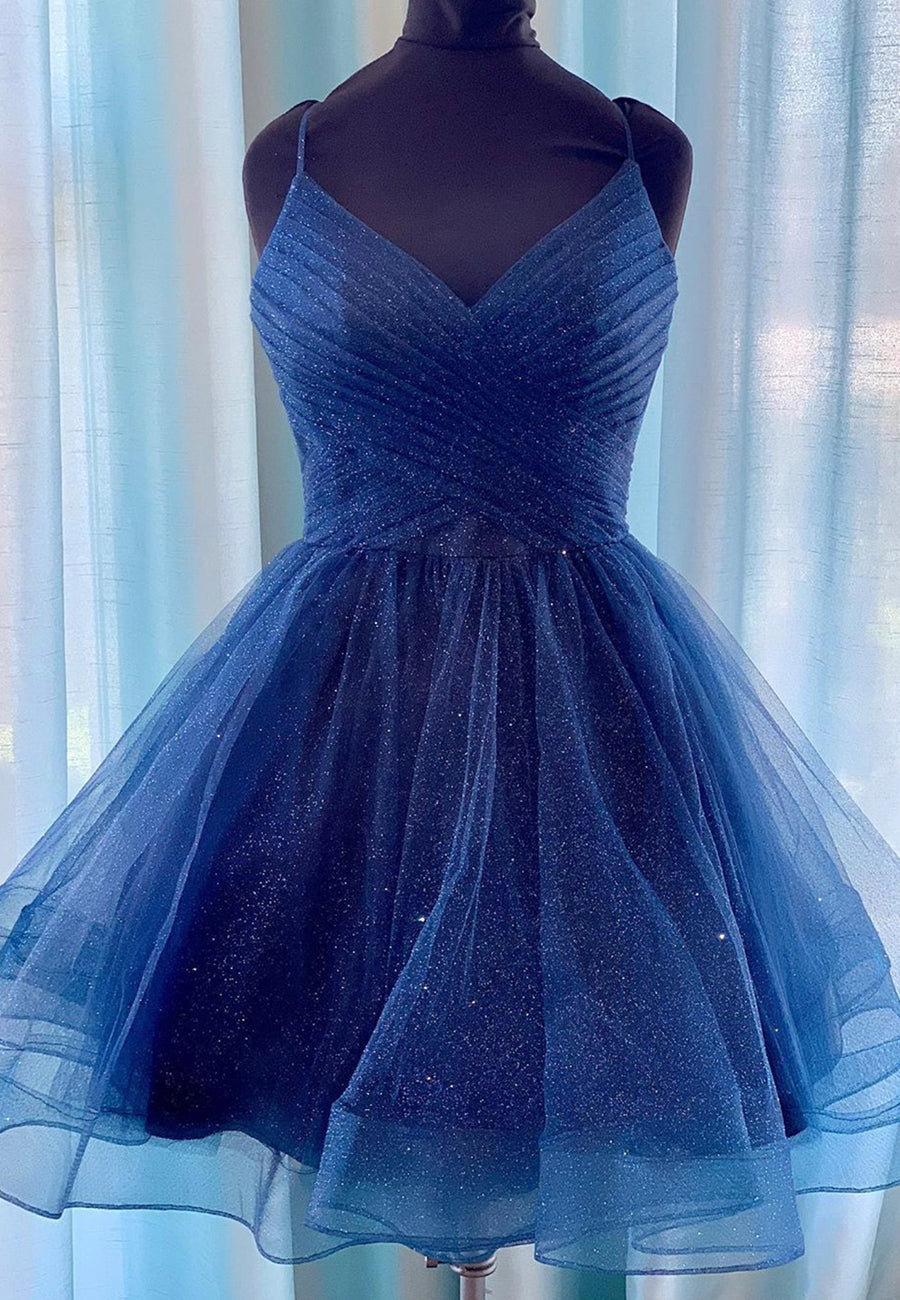 Sparkly tulle short prom dress blue party  dress