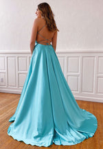 Simple v neck satin prom dress party dress