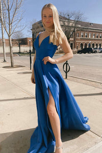 Blue satin long A line prom dress blue evening dress