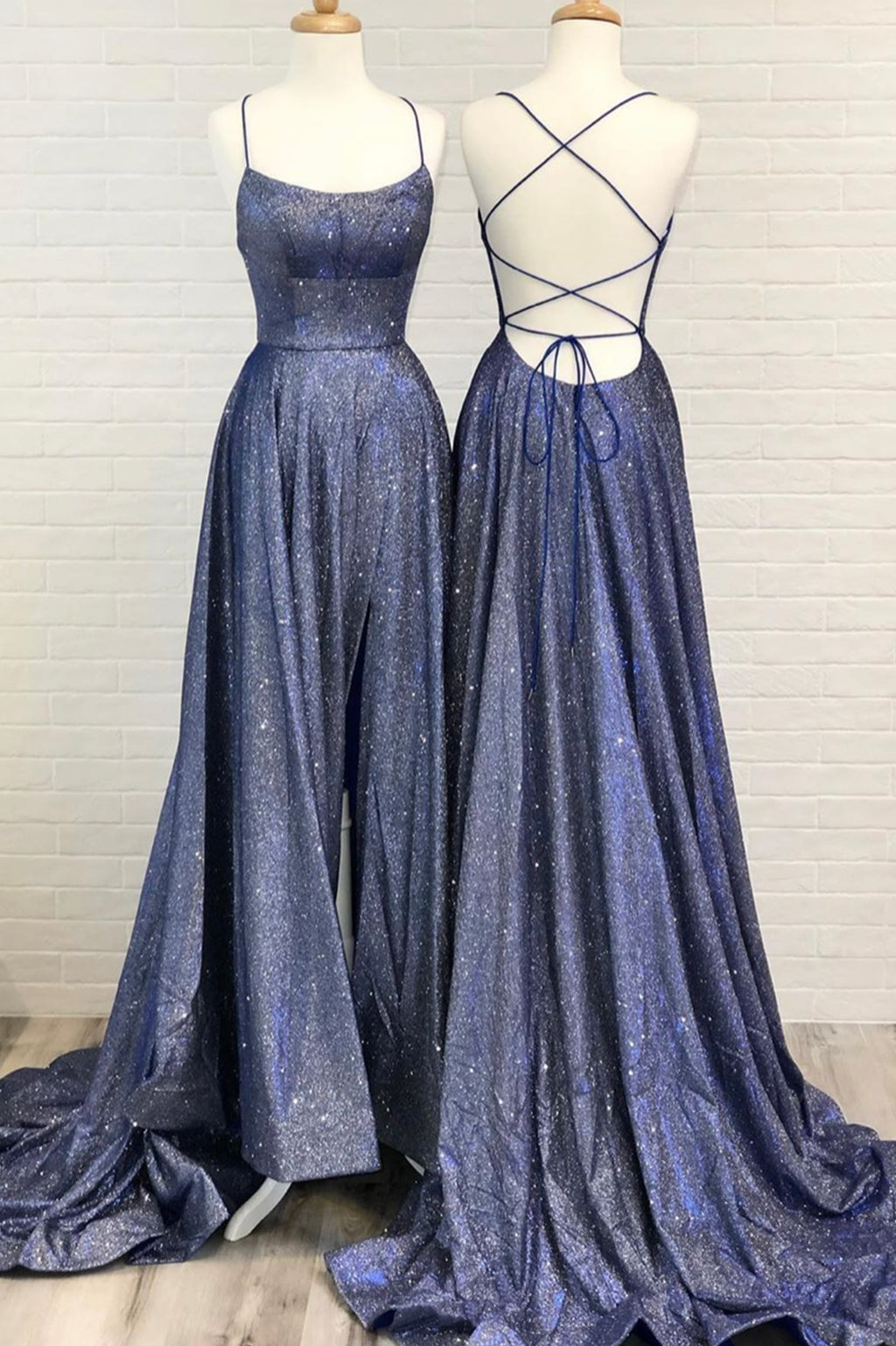 Shiny A line long prom dress blue evening dress