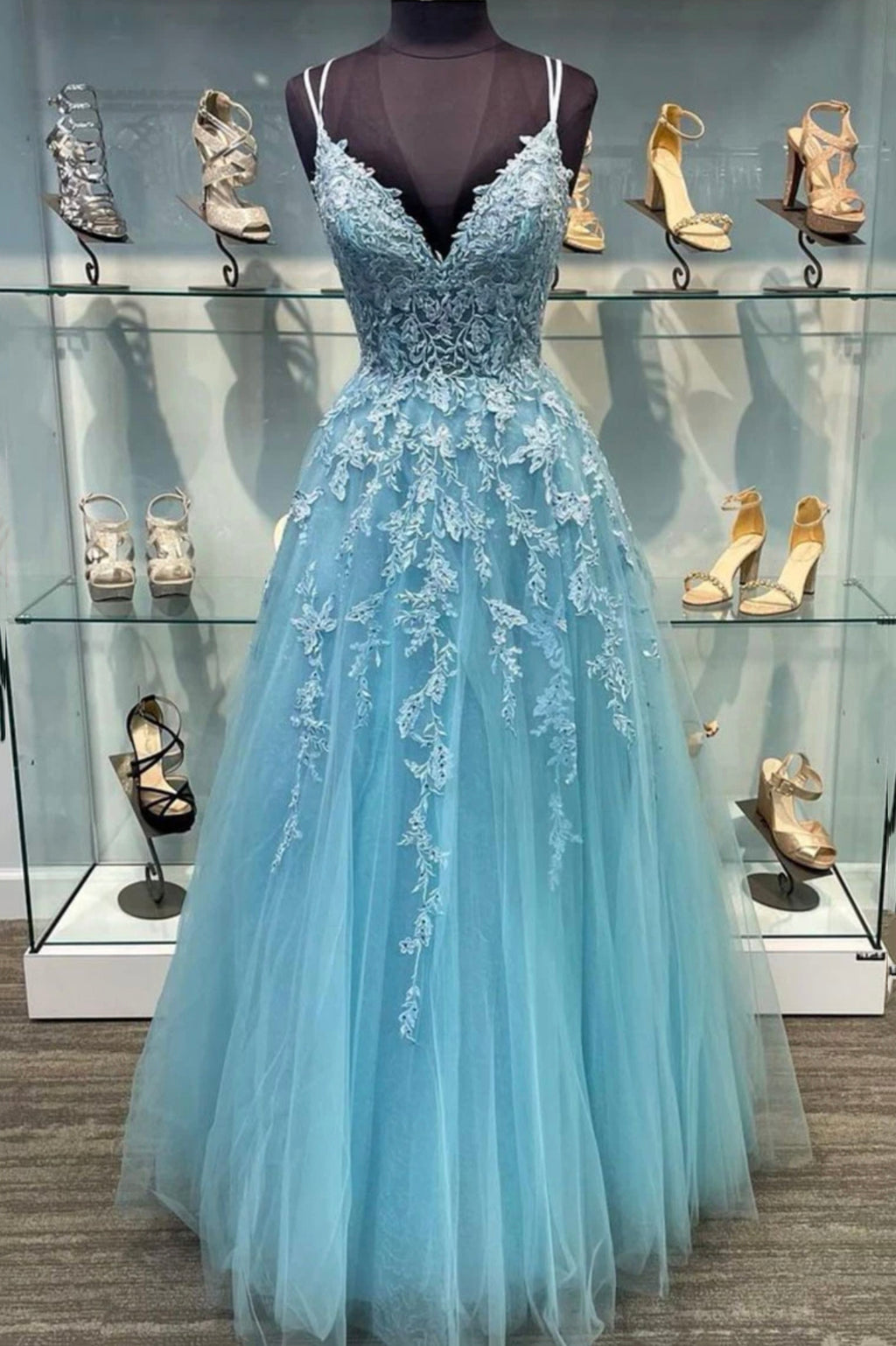 Blue tulle lace long A line prom dress evening dress