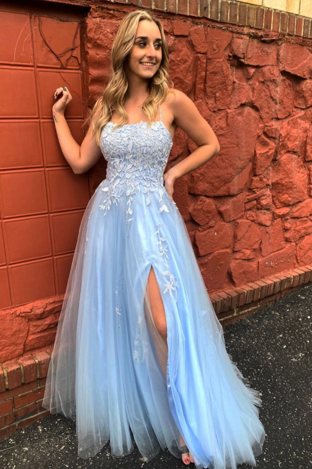 Blue lace long A line prom dress blue evening dress