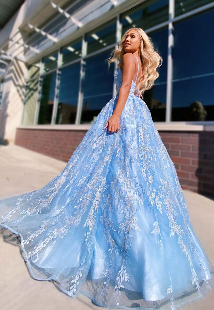 Blue lace tulle long prom dress evening dress