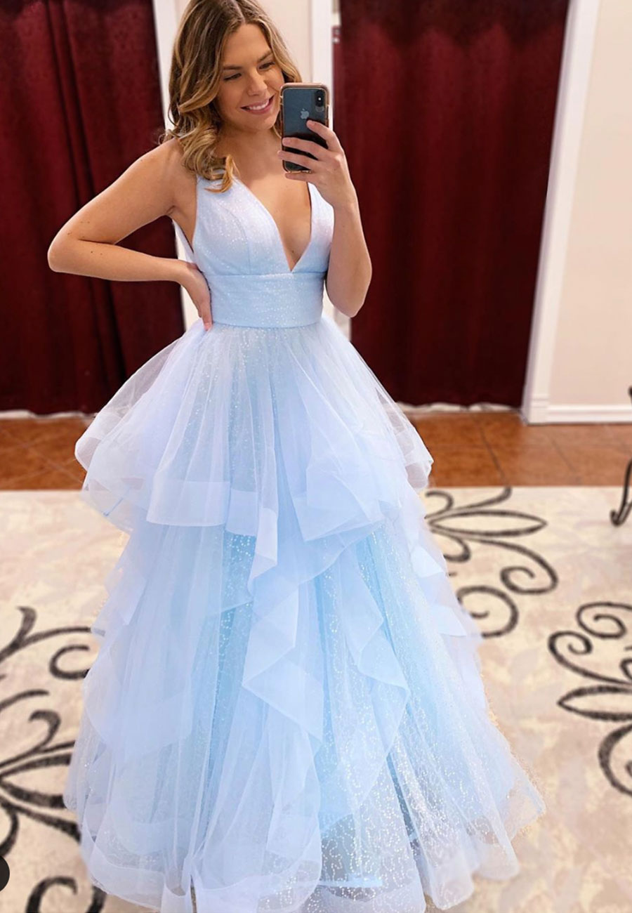 Blue tulle v neck long prom dress evening dress