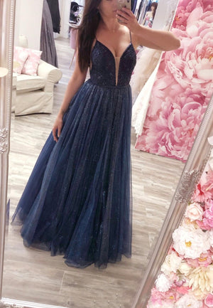 Dark blue tulle sequins prom dress evening dress