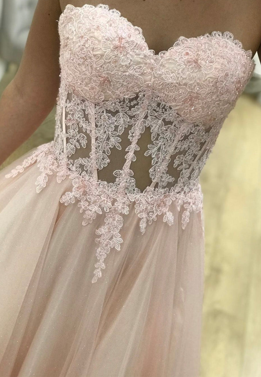 Pink tulle lace long prom dress lace evening dress