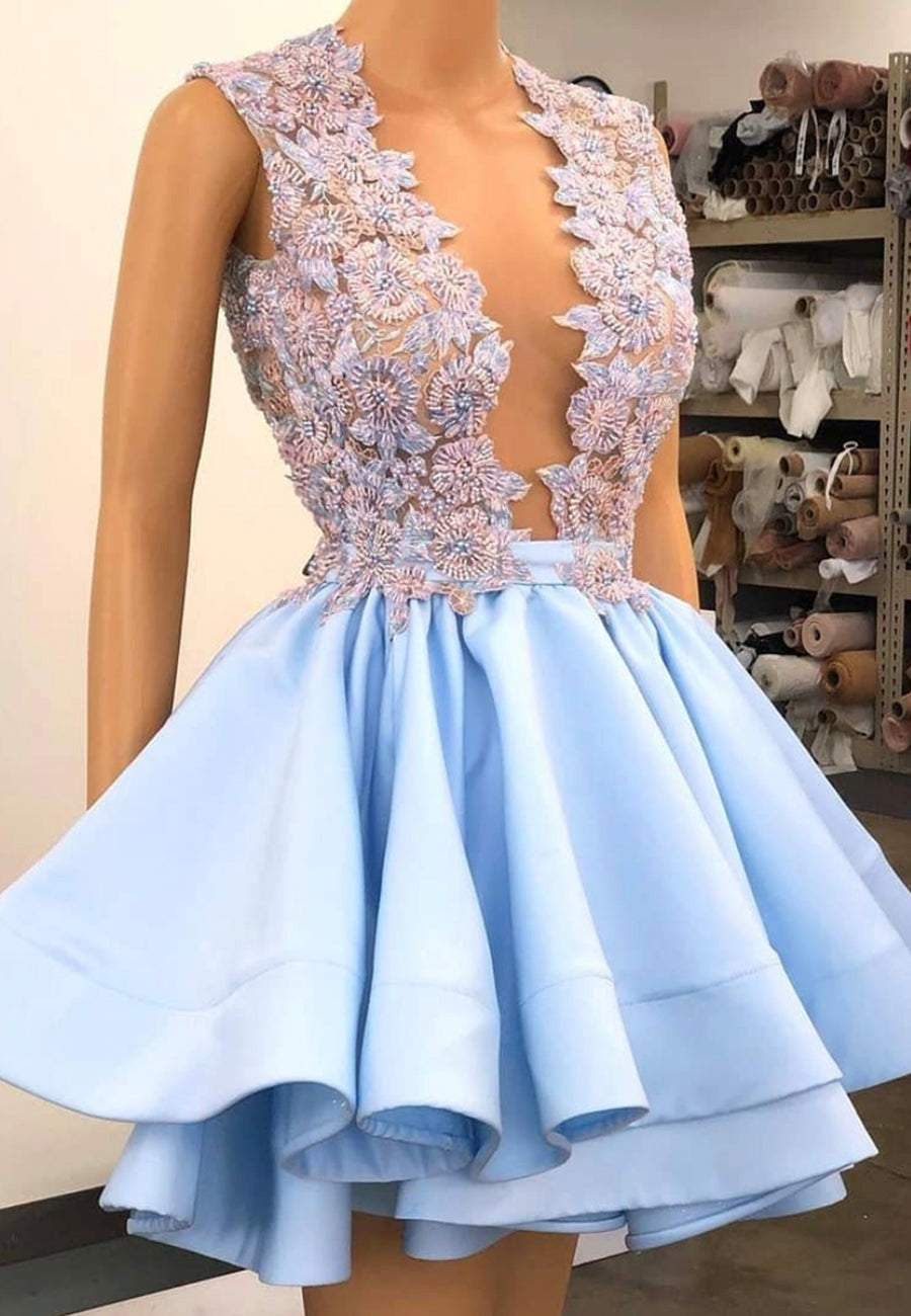 Blue v neck satin beads short A line prom dress