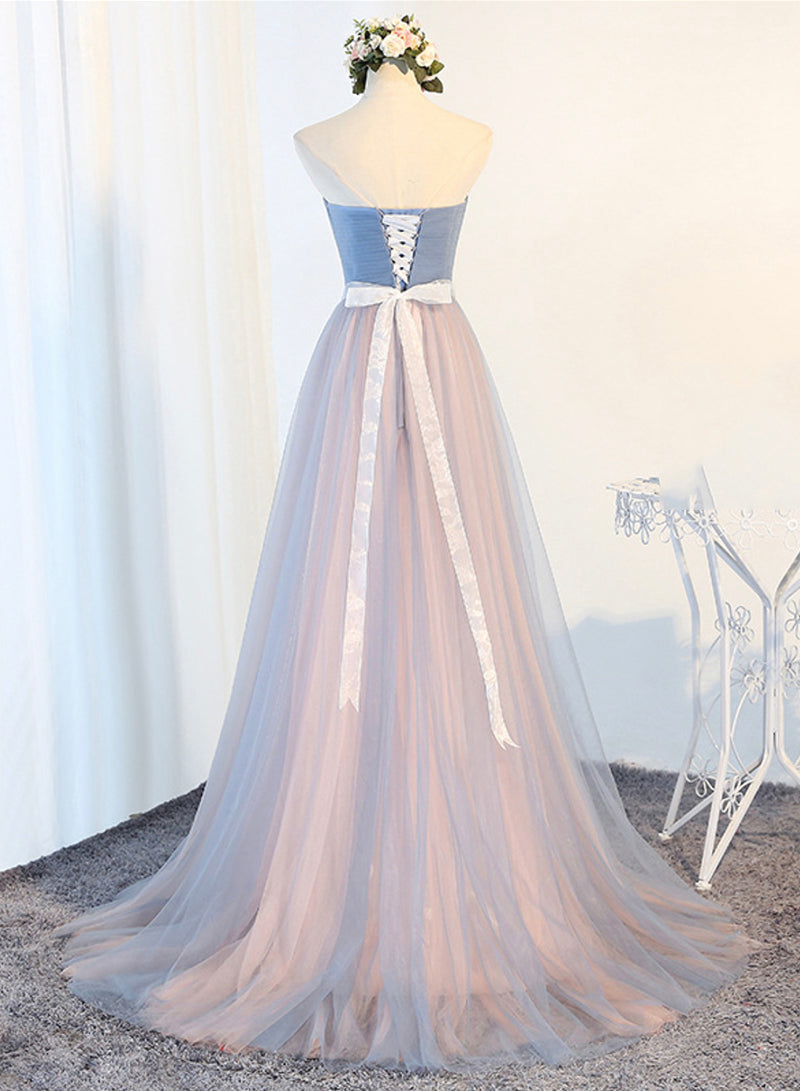 Blue tulle long prom dress blue evening dress