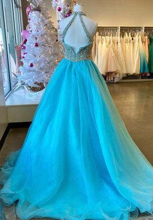 Blue tulle beads long prom dress evening dress