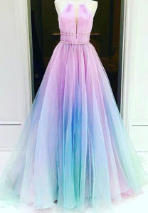 Unique multicolor tulle long ball gown dress