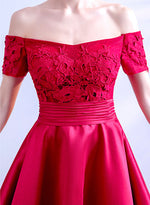 Red lace high low prom dress party dress